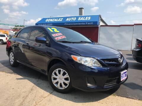 2012 Toyota Corolla for sale at Gonzalez Auto Sales in Joliet IL