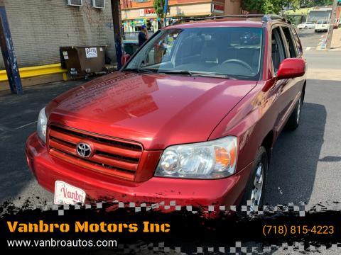 2005 Toyota Highlander for sale at Vanbro Motors Inc in Staten Island NY