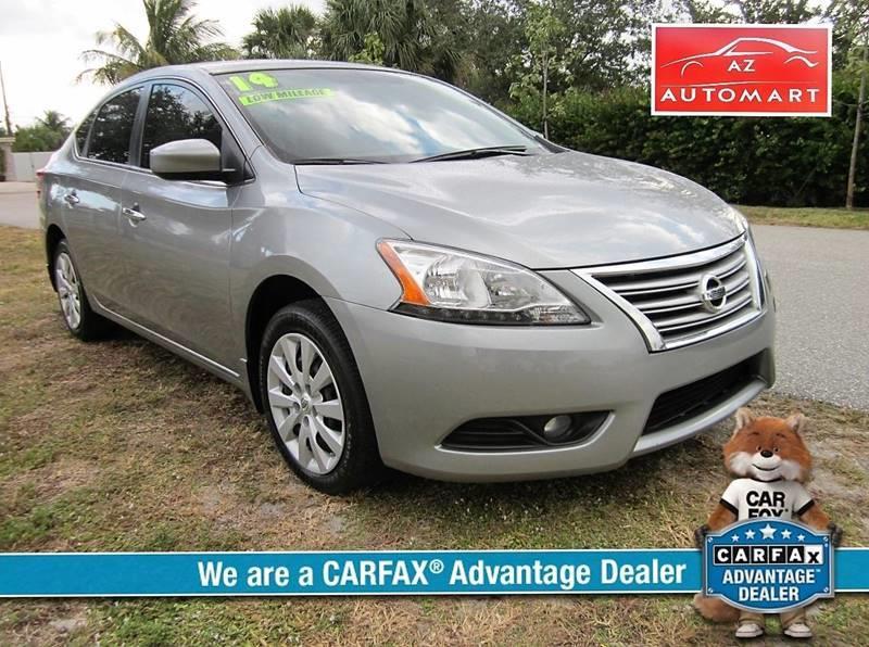 2014 NISSAN SENTRA SV 4DR SEDAN gray clean carfax 1 owner low miles   door handle color - chrom