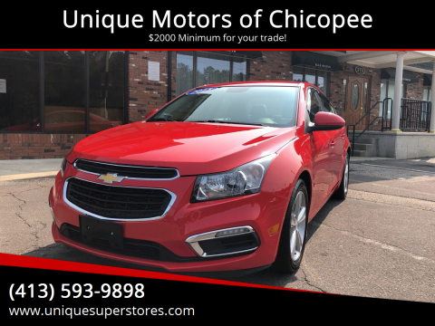 2015 Chevrolet Cruze for sale at Unique Motors of Chicopee in Chicopee MA