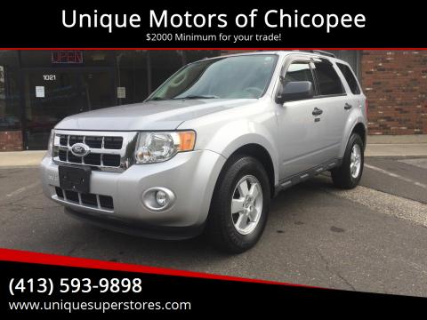 2012 Ford Escape for sale at Unique Motors of Chicopee in Chicopee MA