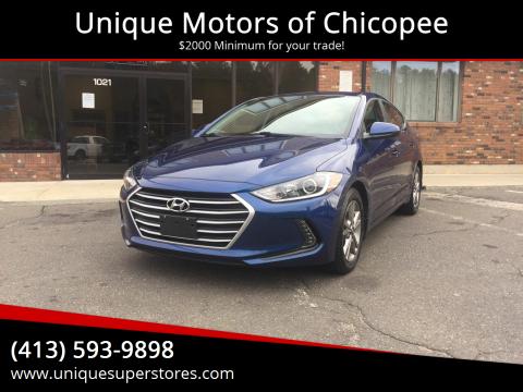 2017 Hyundai Elantra for sale at Unique Motors of Chicopee in Chicopee MA