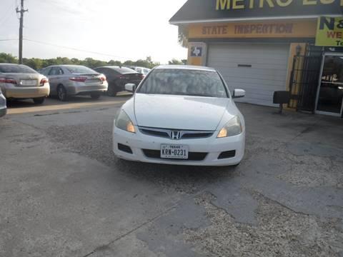 2006 Honda Accord for sale at N & A Metro Motors in Dallas TX
