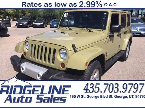 2013 Jeep Wrangler Unlimited for sale at Ridgeline Auto Sales in Saint George UT