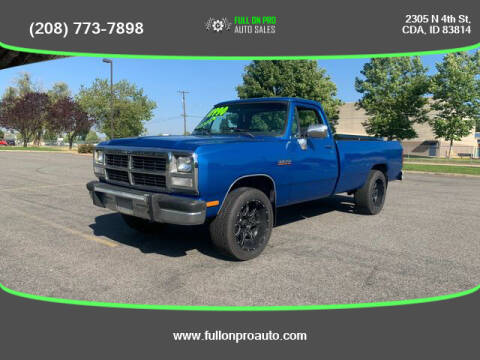 1991 Dodge RAM 250 for sale at Full On Pro Auto in Coeur D'Alene ID