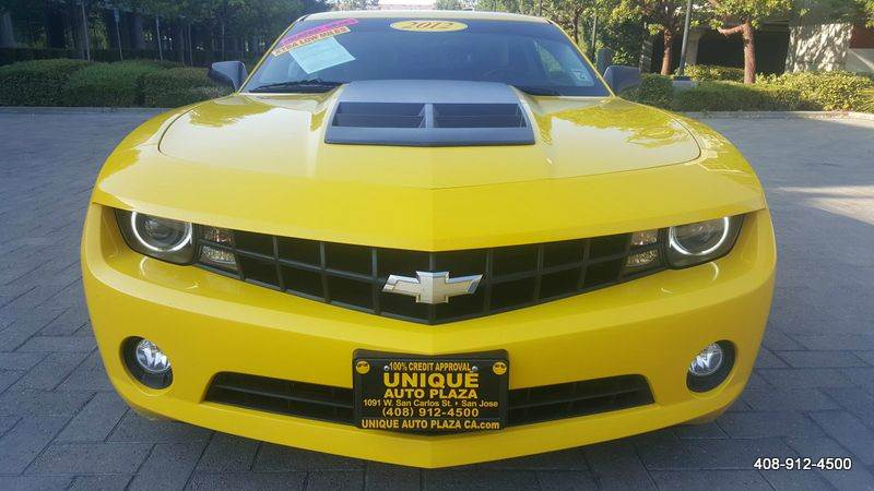 2012 CHEVROLET CAMARO LT 2DR COUPE W2LT yellow exhaust - dual tip black hockey stripe package