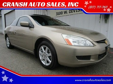 2003 Honda Accord for sale at CRANSH AUTO SALES, INC in Arlington TX