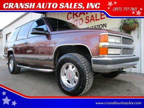 1996 Chevrolet Tahoe for sale at CRANSH AUTO SALES, INC in Arlington TX