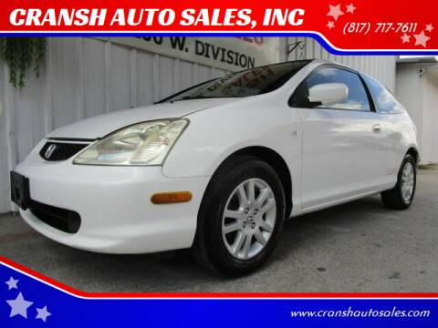 2002 Honda Civic for sale at CRANSH AUTO SALES, INC in Arlington TX