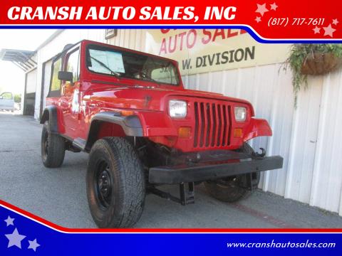 1993 Jeep Wrangler for sale at CRANSH AUTO SALES, INC in Arlington TX