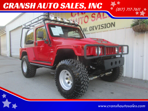 2001 Jeep Wrangler for sale at CRANSH AUTO SALES, INC in Arlington TX