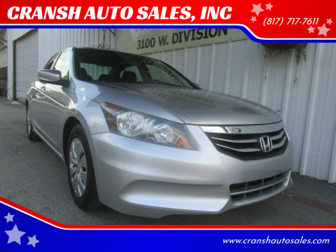 2012 Honda Accord for sale at CRANSH AUTO SALES, INC in Arlington TX
