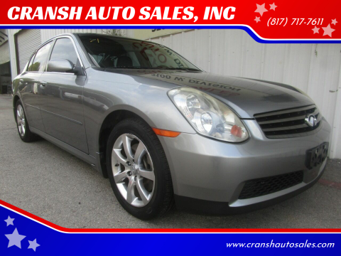 2006 Infiniti G35 for sale at CRANSH AUTO SALES, INC in Arlington TX