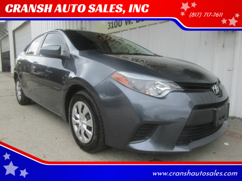 2014 Toyota Corolla for sale at CRANSH AUTO SALES, INC in Arlington TX