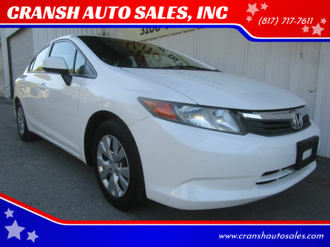 2012 Honda Civic for sale at CRANSH AUTO SALES, INC in Arlington TX