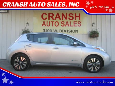 2015 Nissan LEAF for sale at CRANSH AUTO SALES, INC in Arlington TX