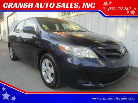 2011 Toyota Corolla for sale at CRANSH AUTO SALES, INC in Arlington TX