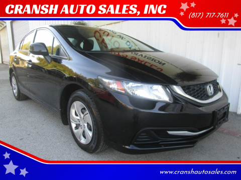 2013 Honda Civic for sale at CRANSH AUTO SALES, INC in Arlington TX
