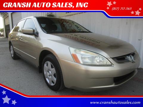 2005 Honda Accord for sale at CRANSH AUTO SALES, INC in Arlington TX
