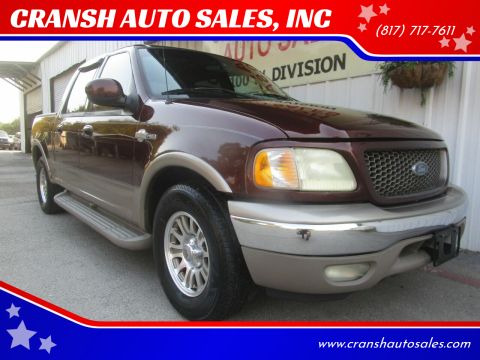 2001 Ford F-150 for sale at CRANSH AUTO SALES, INC in Arlington TX