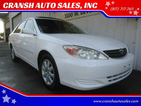 2002 Toyota Camry for sale at CRANSH AUTO SALES, INC in Arlington TX