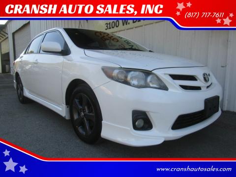 2012 Toyota Corolla for sale at CRANSH AUTO SALES, INC in Arlington TX