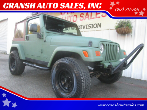 2004 Jeep Wrangler for sale at CRANSH AUTO SALES, INC in Arlington TX