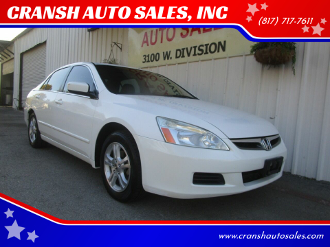 2006 Honda Accord for sale at CRANSH AUTO SALES, INC in Arlington TX