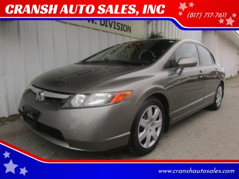 2008 Honda Civic for sale at CRANSH AUTO SALES, INC in Arlington TX