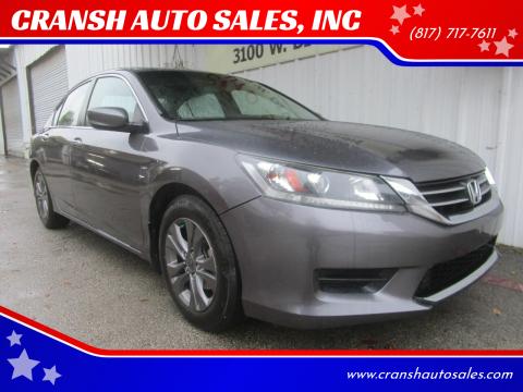 2015 Honda Accord for sale at CRANSH AUTO SALES, INC in Arlington TX