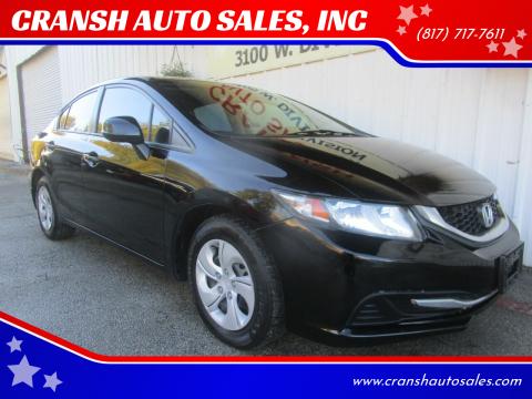 2013 Honda Civic for sale at CRANSH AUTO SALES, INC in Arlington TX