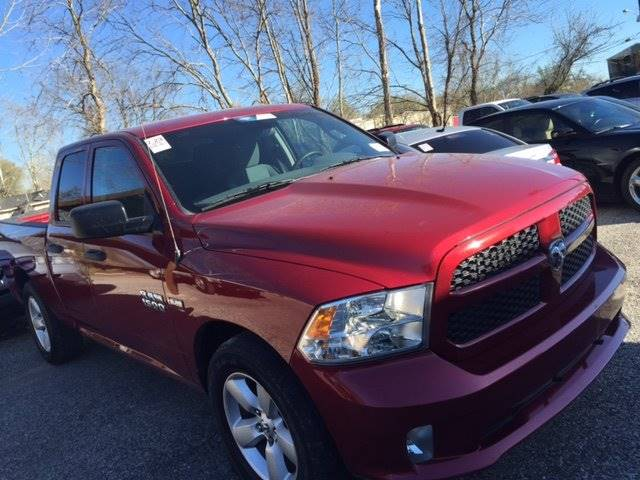 2014 RAM RAM PICKUP 1500 EXPRESS 4X2 4DR QUAD CAB 63 FT red 100 cash down delivers wac   0 o
