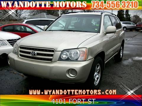 2001 Toyota Highlander for sale at Wyandotte Motors in Wyandotte MI
