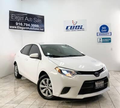 2016 Toyota Corolla for sale at Elegant Auto Sales in Rancho Cordova CA