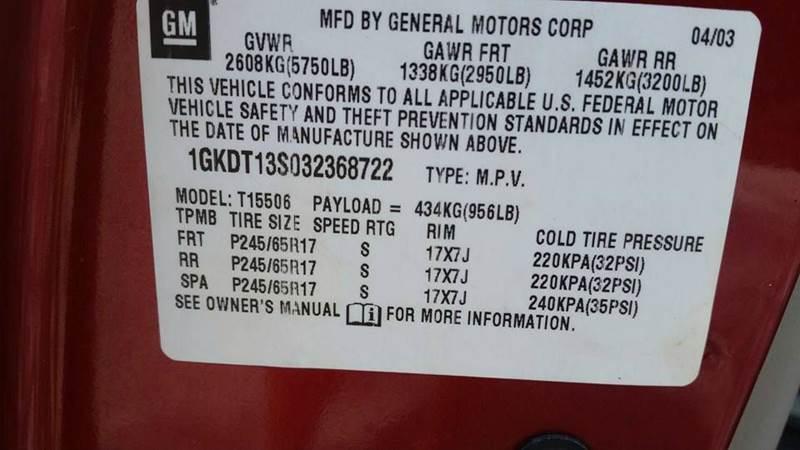 2003 GMC Envoy for sale at Real Deals of Florence, LLC in Effingham SC