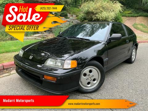1989 Honda Civic CRX for sale at Mudarri Motorsports in Kirkland WA