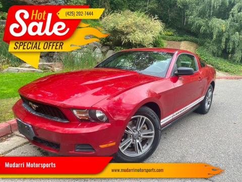 2012 Ford Mustang for sale at Mudarri Motorsports in Kirkland WA