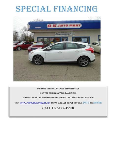2013 FORD FOCUS SE 4DR HATCHBACK white one owner  low mile  autocheck score91  must see
