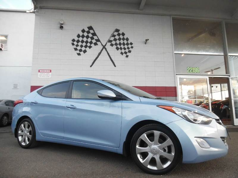 2013 HYUNDAI ELANTRA LIMITED 4DR SEDAN blue sky metallic vin kmhdh4ae4du708340 great dependable v