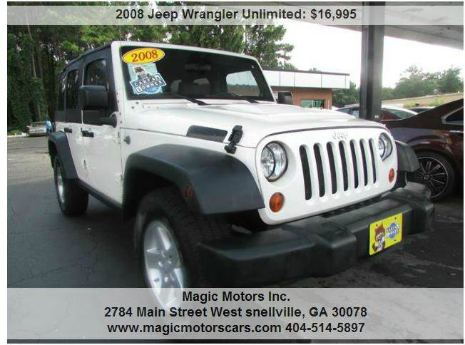 2008 jeep wrangler unlimited x 4wd used cars in snellville ga 30078. Black Bedroom Furniture Sets. Home Design Ideas
