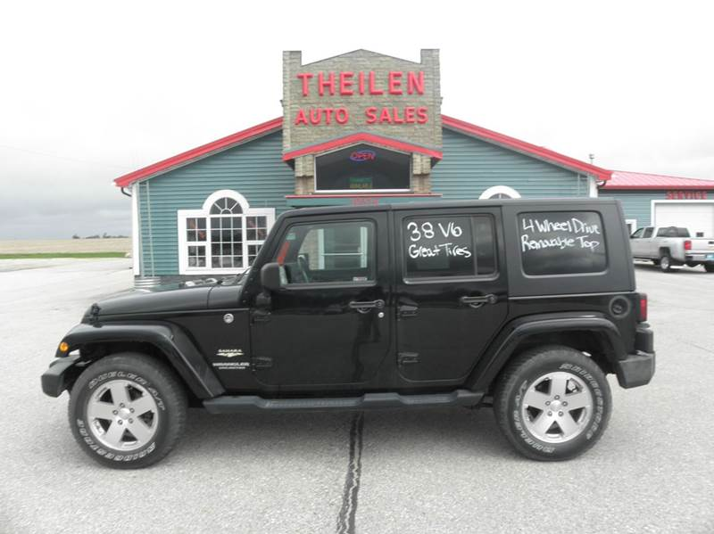 2009 jeep wrangler unlimited 4x4 sahara 4dr suv in clear lake ia theilen auto sales. Black Bedroom Furniture Sets. Home Design Ideas