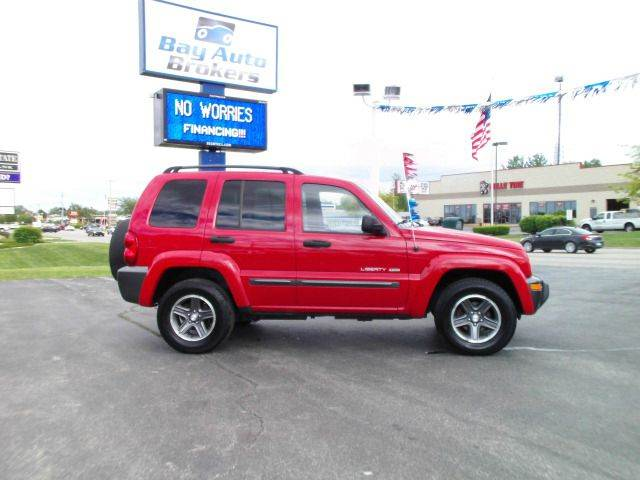 2004 JEEP LIBERTY SPORT 4DR 4WD SUV red all of bay auto brokers pre-owned vehicles go through a r