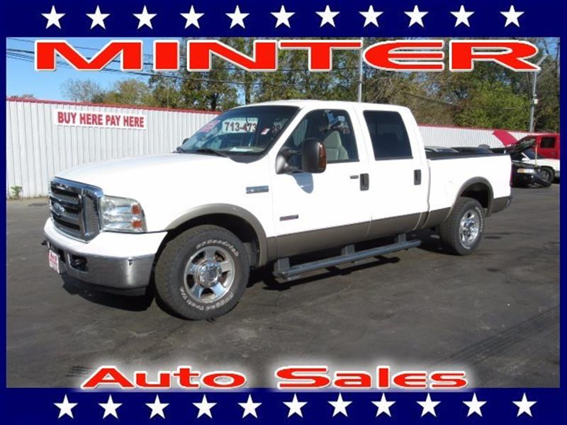 2005 FORD F-250 SUPER DUTY 2WD CREW CAB 6-34 FT BOX LARIAT oxford white 4 air registers wposi