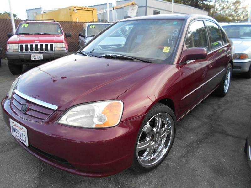 2002 HONDA CIVIC EX 4DR SEDAN maroon abs - 4-wheel anti-theft system - alarm clock cruise cont