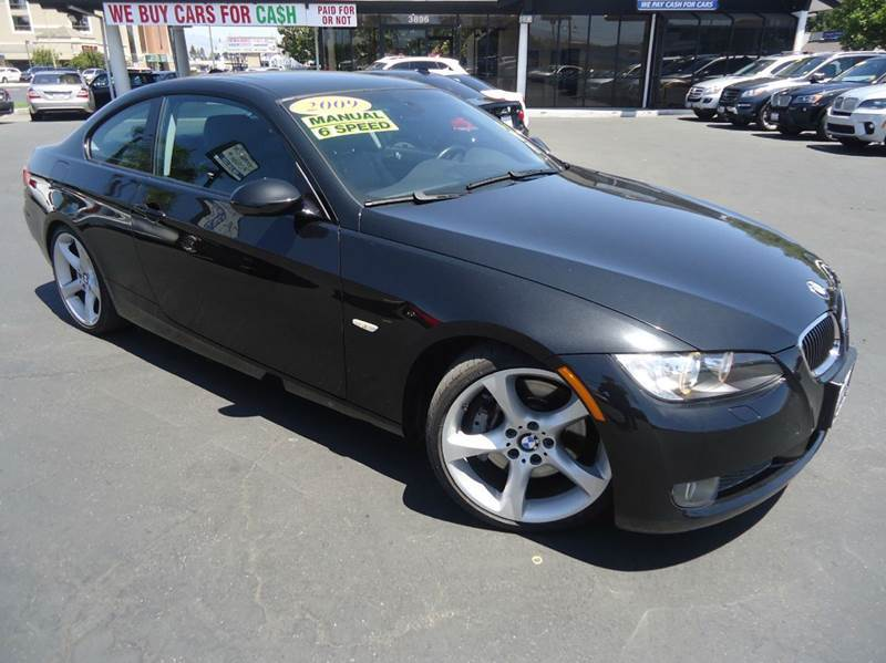 2009 BMW 3 SERIES 335I 2DR COUPE black clean carfax low miles navigation 6 speed stick