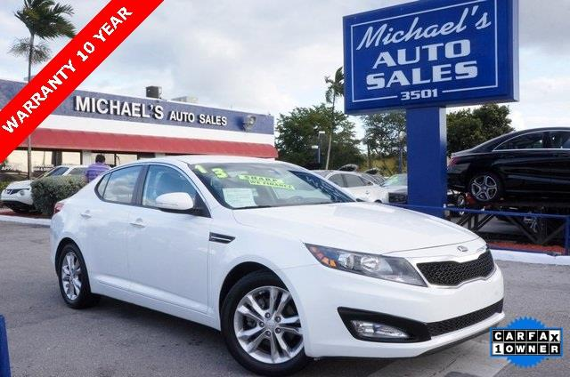 2013 KIA OPTIMA LX 4DR SEDAN snow white pearl 99 point safety inspection clean carfax