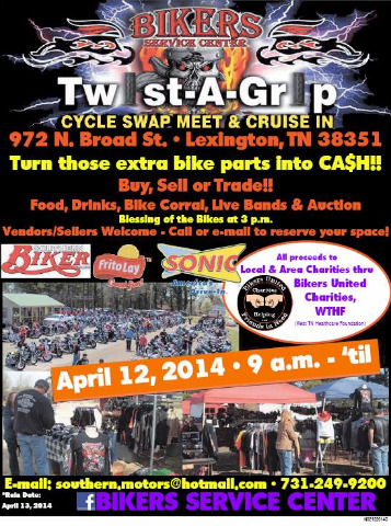2014 Spring Twist A Grip Motorcylce Swap Meet & Cruise In April 12 2014  - Lexington TN