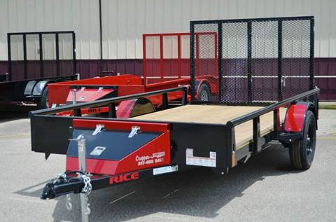 2016 Rice Trailers 76 x 12 Pipe Top Rail Utility