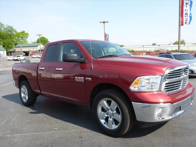 2015 RAM RAM PICKUP 1500 BIG HORN 4X4 4DR QUAD CAB 63 FT red steering wheel mounted controls voi