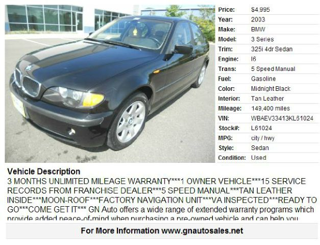 2003 BMW 3 Series for sale in CHANTILLY VA